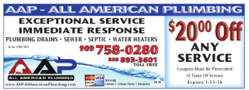 Chino Plumbing Coupon - Water - Sewer - Drain Cleaning - AAP All American Plumbing