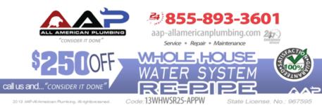 Repiping $250.00 Coupon | AAP All American Plumbing