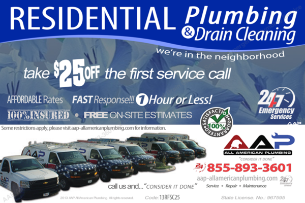 AAP-All American Plumbing Residential Plumbing and Drain Cleaning 25 Off First Call